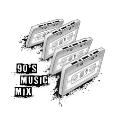 Audio cassette symbol of retro music 90s music vector