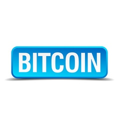bitcoin blue 3d realistic square isolated button vector image