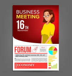 business meeting poster business woman vector image vector image