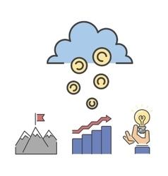 Business success money cloud icons set vector