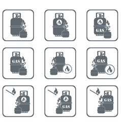 camping stove with gas bottle icons set vector image vector image