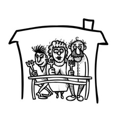 cartoon image of family icon family at house vector image vector image