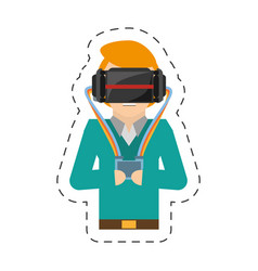 cartoon man with vr goggles control vector image