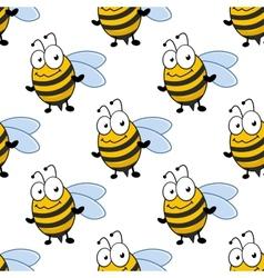Cartoon smiling bee seamless pattern vector