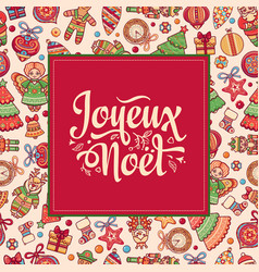 Christmas card joyeux noel greetings vector