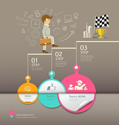 Circles paper step business man infographic vector image vector image