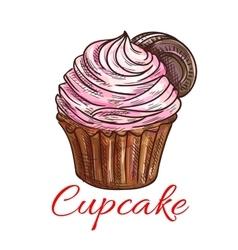 Cupcake creamy sweet dessert icon vector