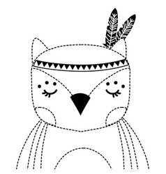 Dotted shape cute owl animal with feathers vector