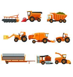 flat set of agricultural transports rural vector image