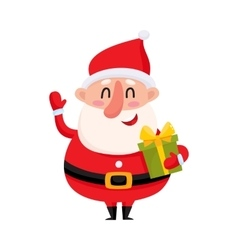 Funny santa claus holding christmas gift and vector