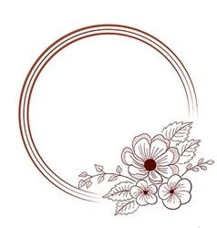 Hand drawn round frame with flower vector image