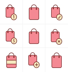 Icons Style Shopping bag icons on white background vector image vector image