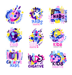 Kid creative set of colorful logo graphic vector