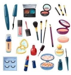 Ladies cosmetics make-up realistic set vector