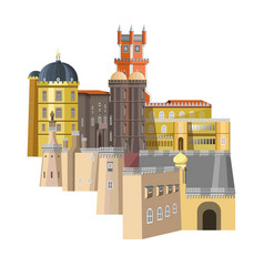 medieval buildings with unusual structure and rich vector image vector image