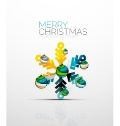 Merry chrismas snowflake decorated with balls vector
