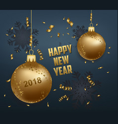 Merry christmas and happy new year 2018 gold balls vector