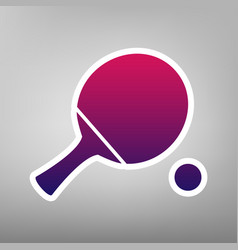Ping pong paddle with ball purple vector