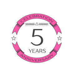 Realistic five years anniversary celebration logo vector