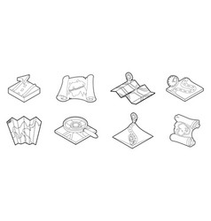 route map icon set outline style vector image