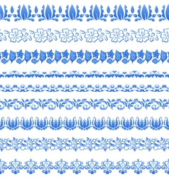 Set floral ornate tracery pattern in gzhel style vector