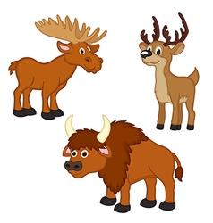 Set of isolated with elk deer bison vector