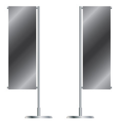 Silver outdoor set of banner flags template vector