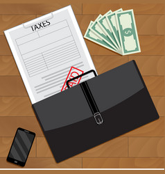 Successfully paid taxes top view vector