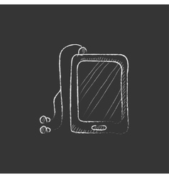Tablet with headphones drawn in chalk icon vector