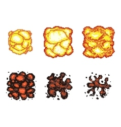 Video game explosion animation in pixel art vector image vector image