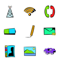 web technology icons set cartoon style vector image