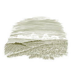 Woodcut countryside fence row vector