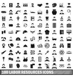 100 labor resources icons set simple style vector