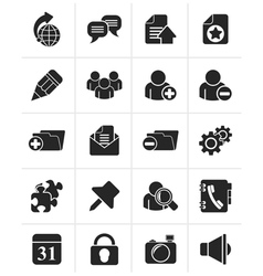 Black internet blogging icons vector