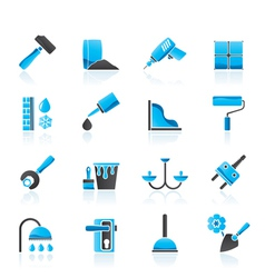 Construction and building equipment icons vector