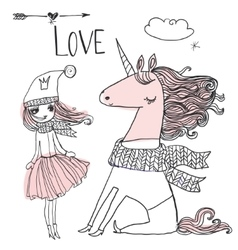 doodle princess with unicorn vector image