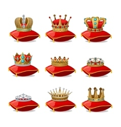 Crowns on pillows icon set vector