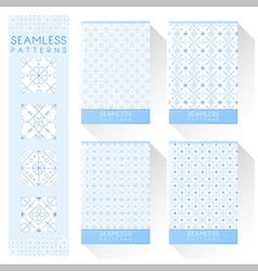 Set of simple line seamless patterns 1 vector