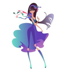 Beautiful brunette with a ribbons vector