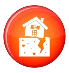 House after an earthquake icon flat style vector