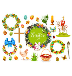 Easter holiday symbols with egg rabbit chicken vector