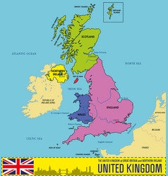 Political map of united kingdom with regions vector