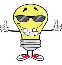 Light bulb cartoon with thumbs up vector