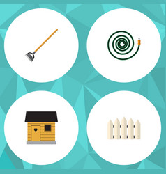 Flat icon dacha set of tool stabling wooden vector