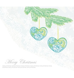 Christmas background Christmas branch and ball in vector image