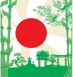 Card with asian buildings vector