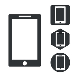 Tablet pc icon set monochrome vector