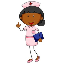 Female nurse in uniform holding file vector