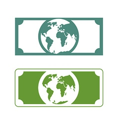 Worlds money banknotes with planet earth future of vector