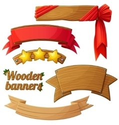Set of light wooden banners 2 vector